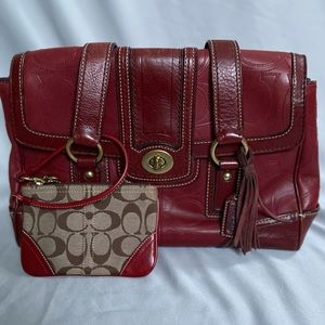 COACH Red Leather Purse and Wristlet